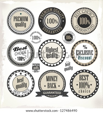 Vector set of vintage PREMIUM QUALITY labels
