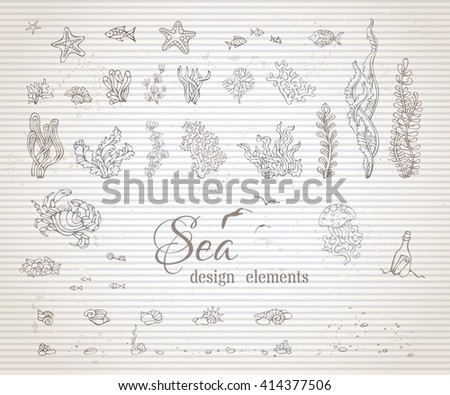 vector set of vintage sea life