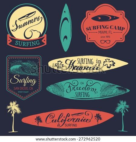 vector set of vintage surfing...