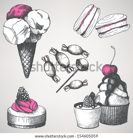 vector set of vintage sweet