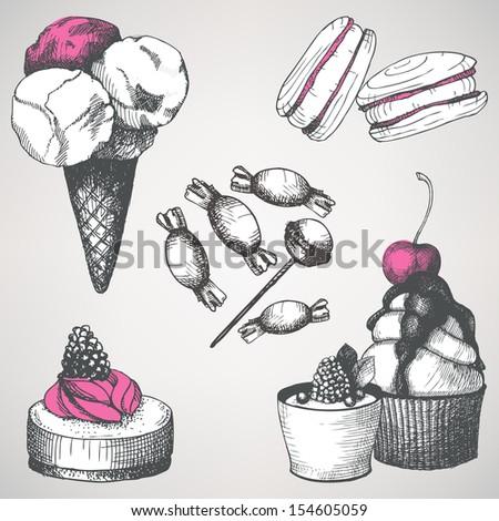 vector set of vintage sweet