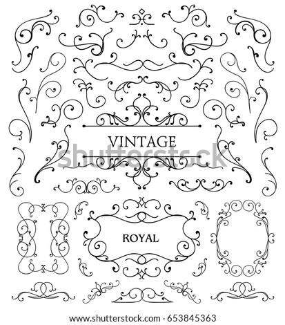 Vector set of vintage swirls, frames, design elements