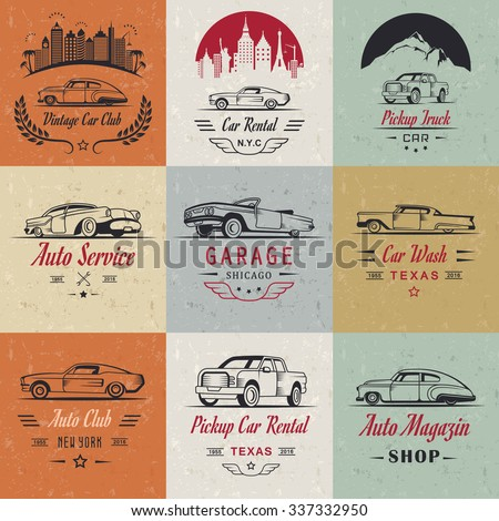 vector set of vintage  symbols