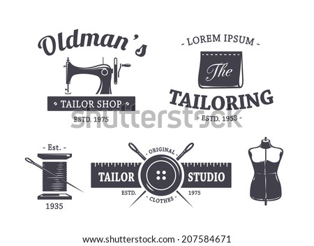 Vector set of vintage tailor emblems