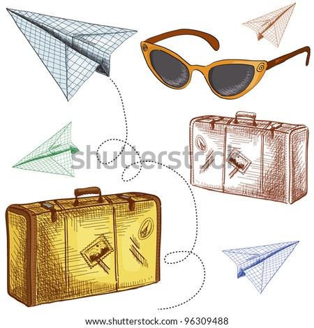 Vector set of vintage travel things