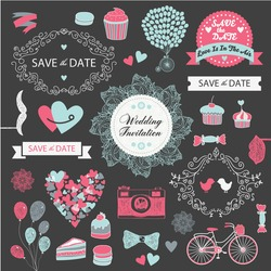vector set of vintage wedding design elements, invitation, decorative elements