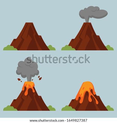 vector set of volcanoes of