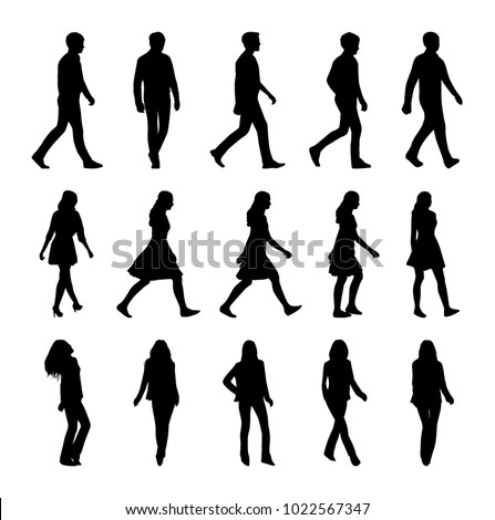 Vector set of walking people silhouettes
