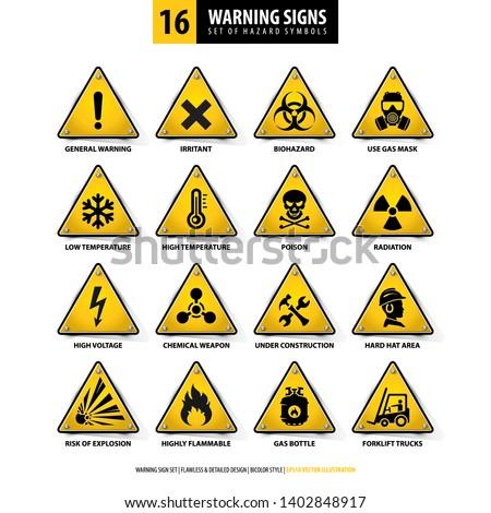 vector set of warning signs