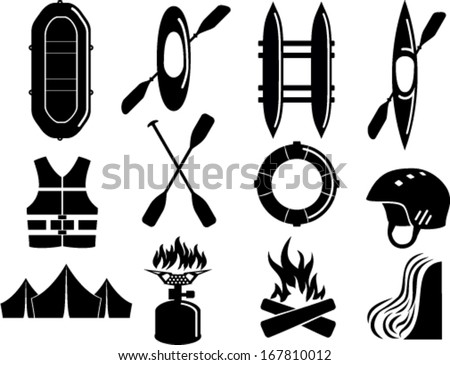 Vector set of Water Rafting Kayak camp Icon Symbol Sign Pictogram