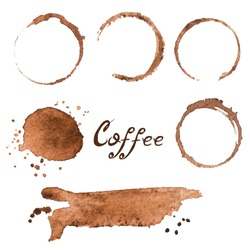 Vector set of watercolor splashes and stains of coffee cup