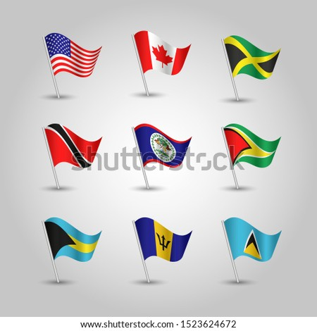 vector set of waving nine flags anglo american states with largest population on silver pole - icon of states usa, canada, jamaica, trinidad and tobago, guyana, belize, bahamas, barbados, sain lucia
