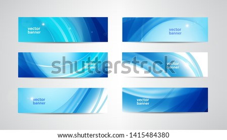 Vector set of wavy banners, blue wave web headers. Water vibrant abstract background, horizontal orientation.