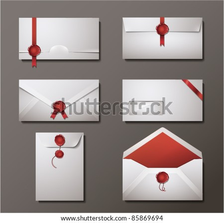 Vector set of wax sealed envelopes.