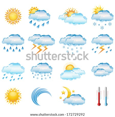 Vector set of weather icons.