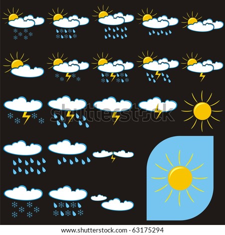 stock vector : VECTOR - Set of Weather Icons (Sunny, Rainy, Cloudy,