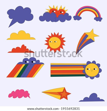 vector set of weather stickers. Kawaii vintage sticker icons - sun, cloud, rainbow, star.60s and 70s hippie style.Isolated children's pictures of natural phenomena with eyes.Summer psychedelic icons.