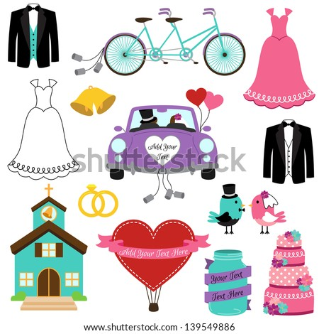vector set of wedding and