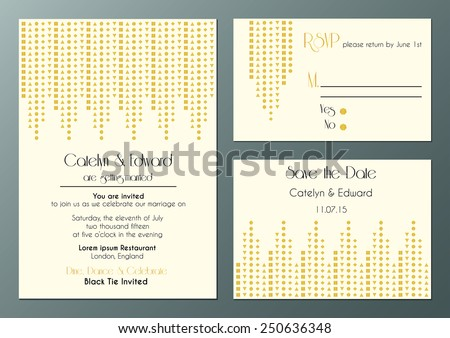 vector set of wedding invitation cards in artdeco style  - stock vector