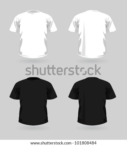 Vector set of white and black t-shirts
