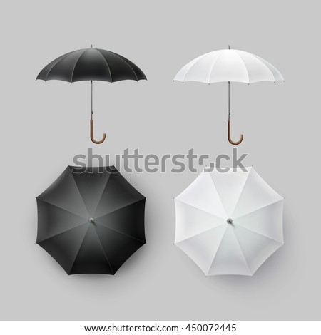 Vector Set of White Black Blank Classic Opened Round Rain Umbrella Parasol Sunshade Top Front Side View Mock up Close Isolated on Background