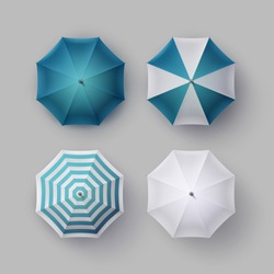 Vector Set of White Blue Striped Blank Classic Opened Round Rain Umbrella Parasol Sunshade Top View Mock up Close Isolated on Background