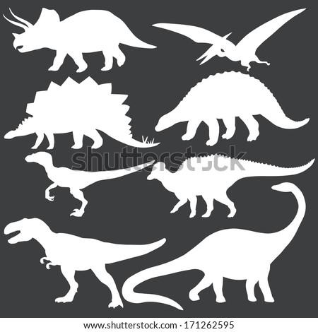 vector set of white dinosaurs