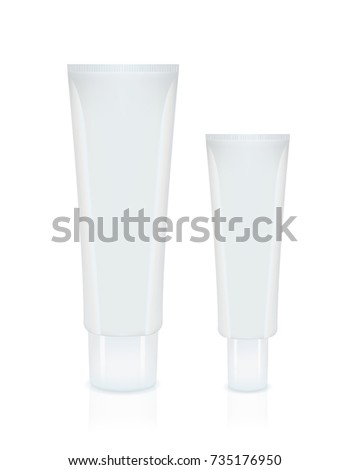Vector set of white empty cosmetics, cream containers, tubes. Big and small. Isolated on white background. Mock up. Realistic illustration