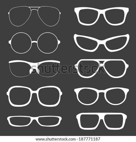 vector set of white glasses