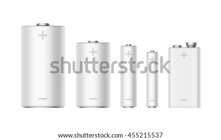 Vector Set of White Glossy Alkaline Batteries Of Diffrent size AAA, AA, C, D, PP3 and 9 Volt Battery for branding Close up Isolated on White background