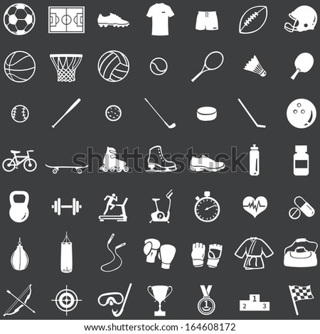 vector set of 49 white icons for sports store