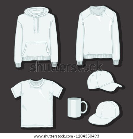 Vector Set of White Items for Print. Clothes and Cup Templates on Dark Background