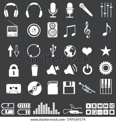 vector set of 46 white music