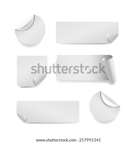 Vector Set of white paper stickers on white background. Round, square, rectangular #257991341