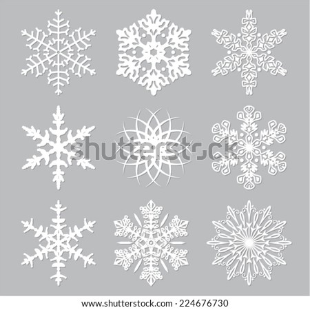 vector set of 9 white snowflakes