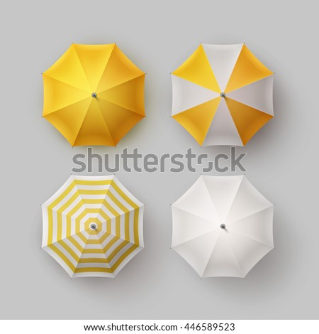 Vector Set of White Yellow Striped Blank Classic Opened Round Rain Umbrella Parasol Sunshade Top View Mock up Close Isolated on Background