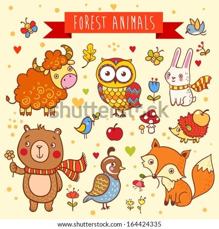 vector set of  wild animals in...