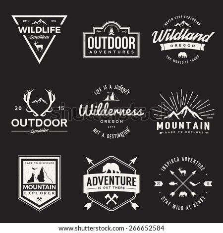 vector set of wilderness and nature exploration vintage  logos, emblems, silhouettes and design elements. outdoor activity symbols with grunge textures - Shutterstock ID 266652584