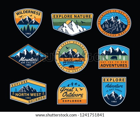 Vector set of wilderness and nature exploration vintage logos, emblems, silhouettes, patches and design elements