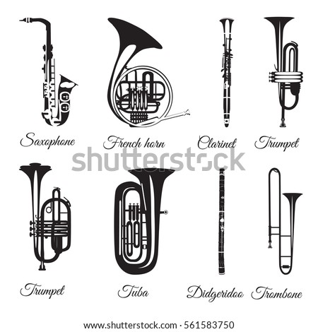 Vector set of wind musical instruments. Saxophone, clarinet, trumpet, trombone, tuba, french horn and didgeridoo isolated on white background. Black and white musical instruments, flat style.