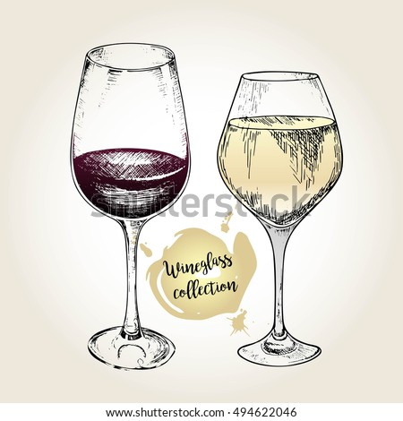 vector set of wineglass