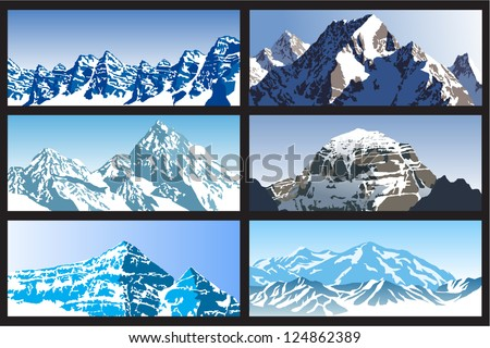 vector set of winter mountains