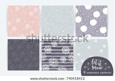 vector set of winter seamless