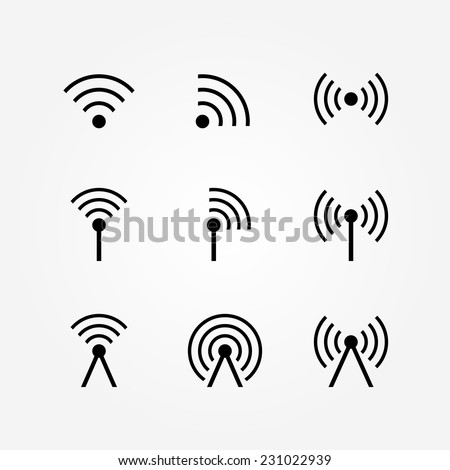 Vector Set of Wireless and Wifi Icons for Remote Access and Communication via Radio Waves