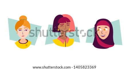 Vector set of woman portraits. Cute and funny females of different religions and ethnicities