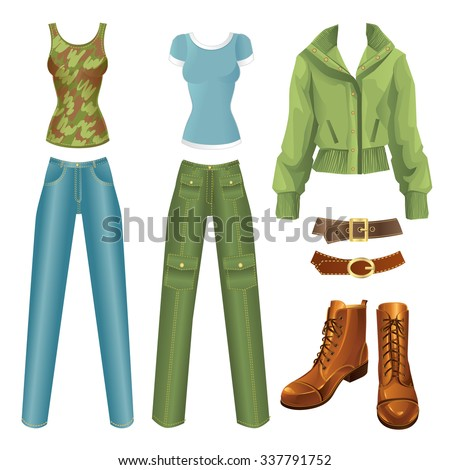 vector set of woman's clothes