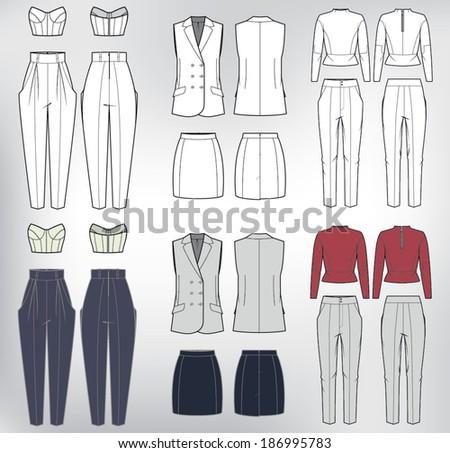 vector set of women's clothes