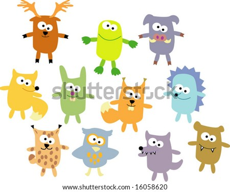 vector set of wood wild animals 04