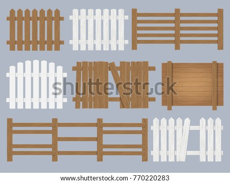 vector set of wooden fence