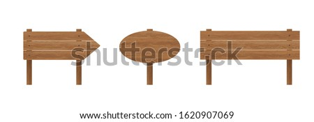 Vector set of wooden signboards isolated on white background. Collection of wood texture blank sign boards with copy space for text. Template for design, sale, announcement, notice.